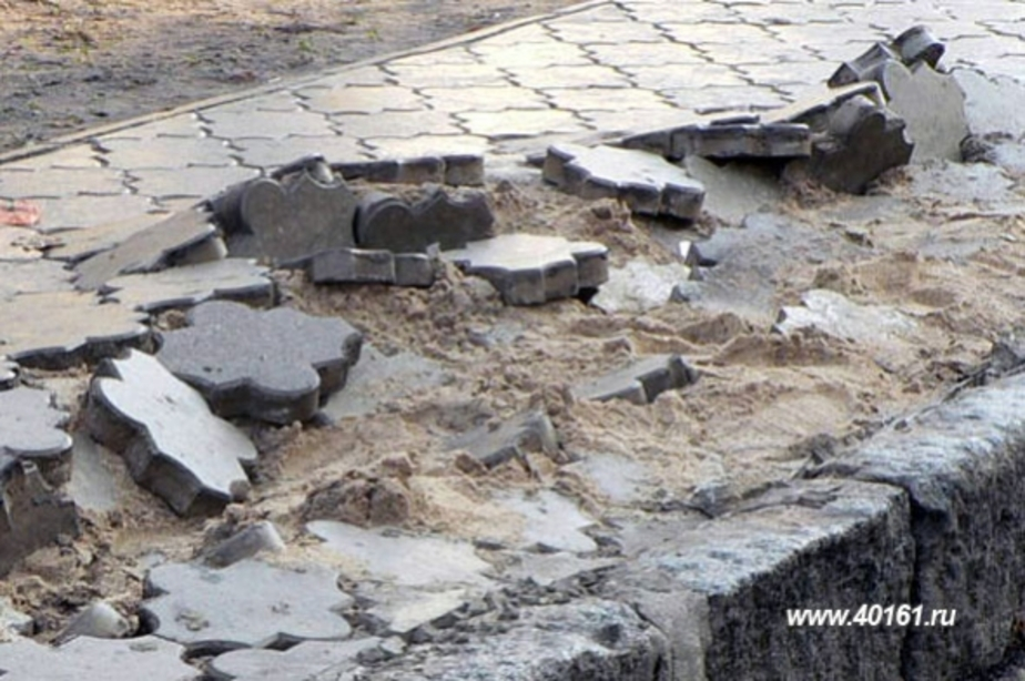 В Советске неизвестные разбили тротуар на новой дороге - Новости Калининграда