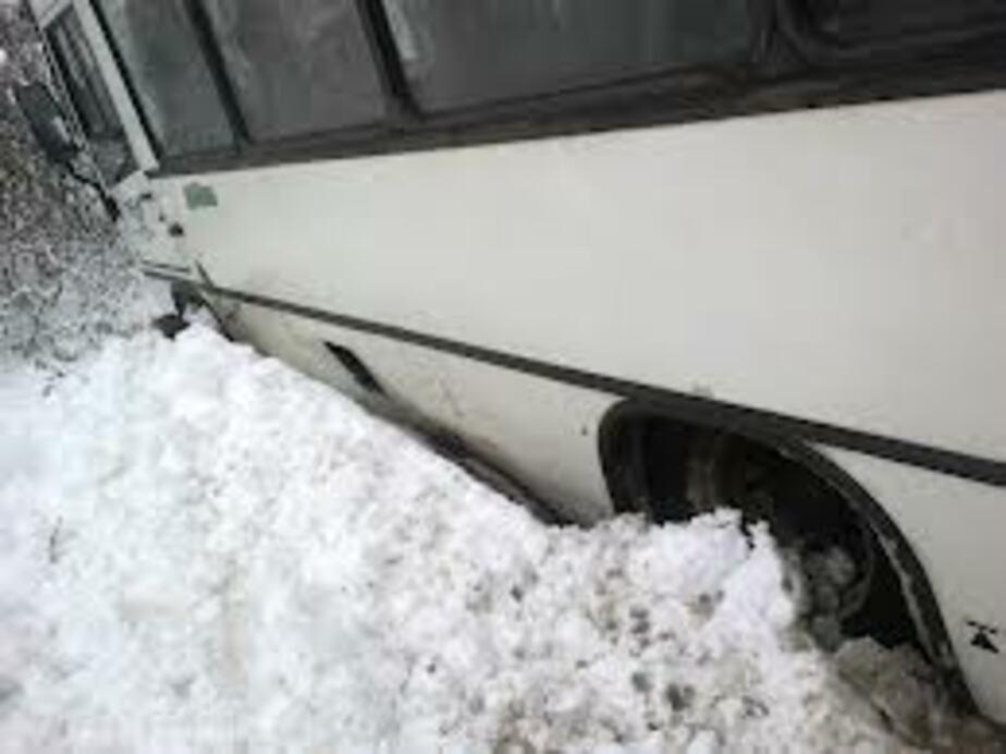 В пос- Малое Васильково автобус на скользкой дороге съехал в кювет - Новости Калининграда