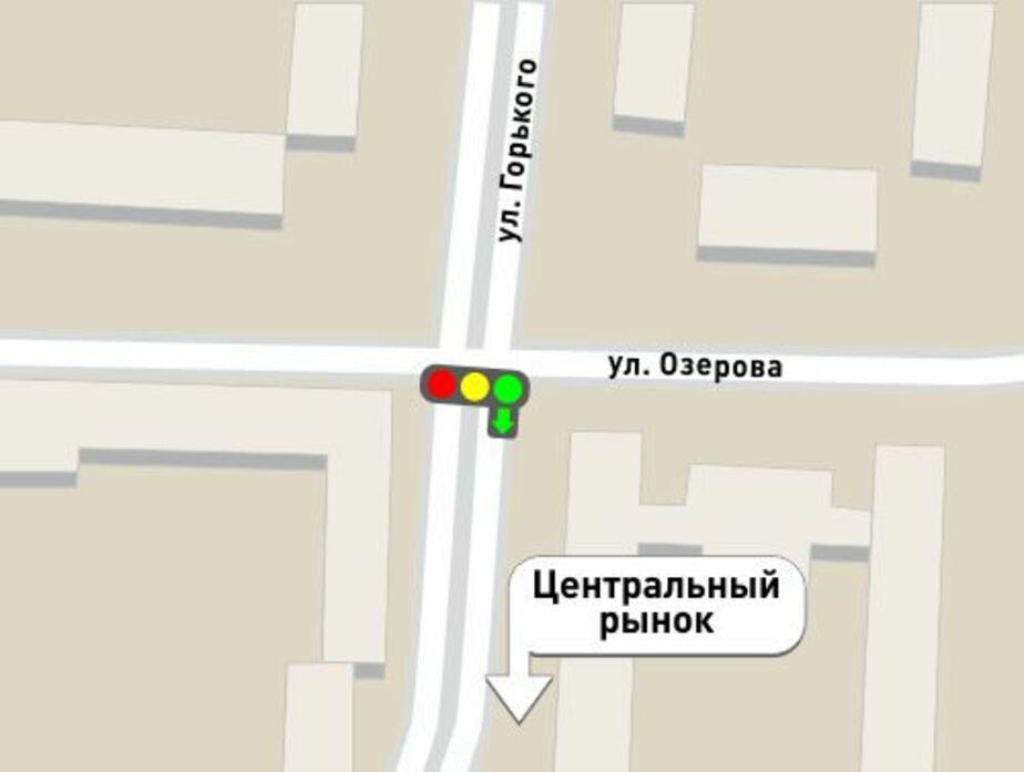 На перекрестке улиц Озерова и Горького установили светофор со стрелкой - Новости Калининграда