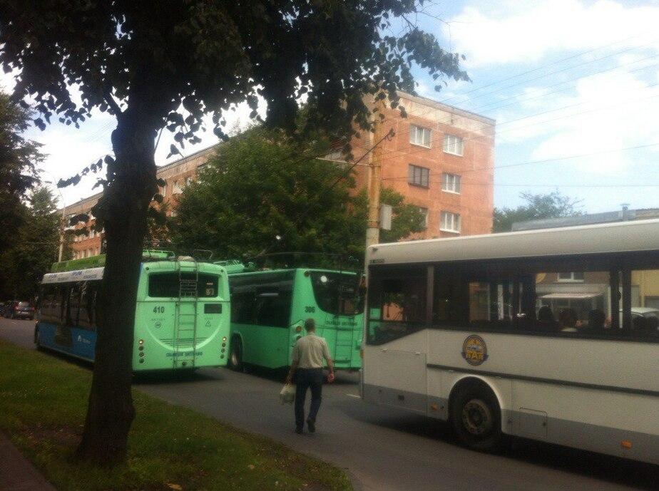 На ул. Леонова троллейбус запутался в проводах: образовались пробки  - Новости Калининграда
