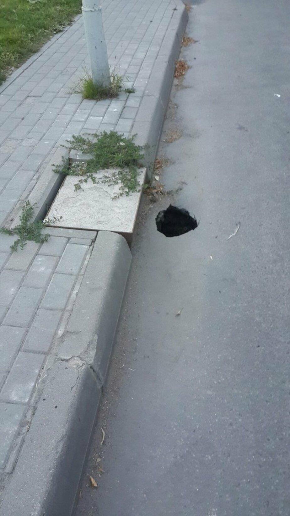На ул. Светлой в Калининграде снова проваливается асфальт - Новости Калининграда