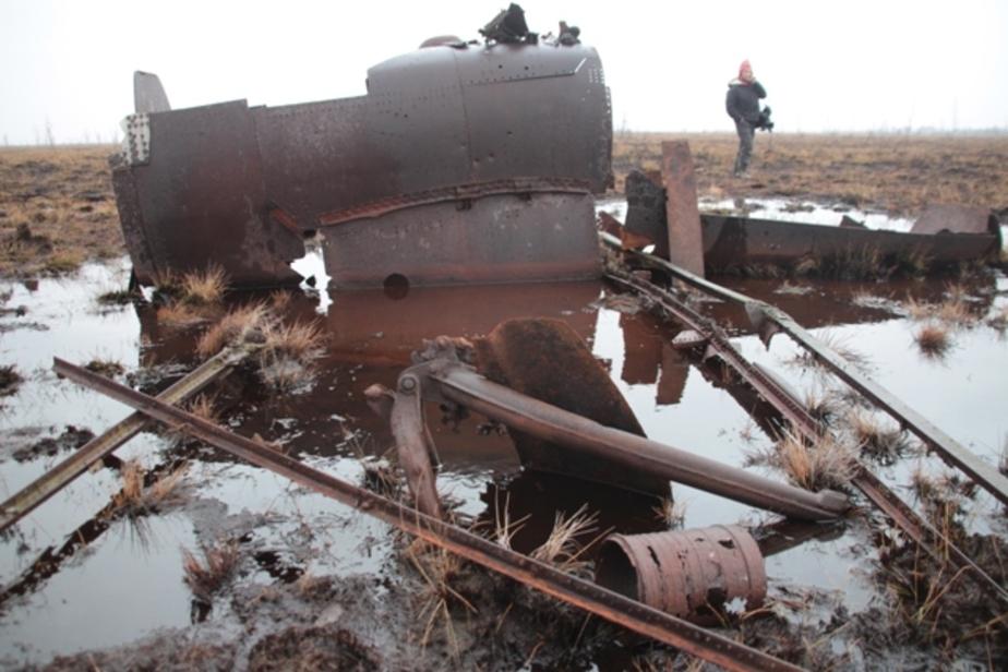 Доставая из калининградского болота самолёт времён ВОВ, поисковики утопили экскаватор