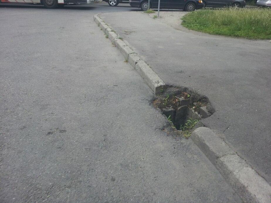В Калининграде возле школы почти месяц зияет яма в асфальте - Новости Калининграда