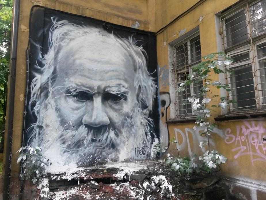 На стене дома на Комсомольской появился портрет Льва Толстого  - Новости Калининграда