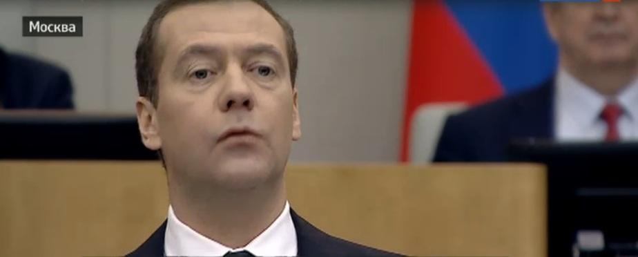Кадр прямой трансляции отчёта премьер-министра с сайта vesti.ru