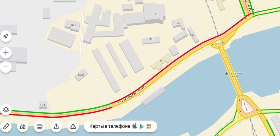 "Скриншот данных сервиса ""Яндекс.Пробки"""