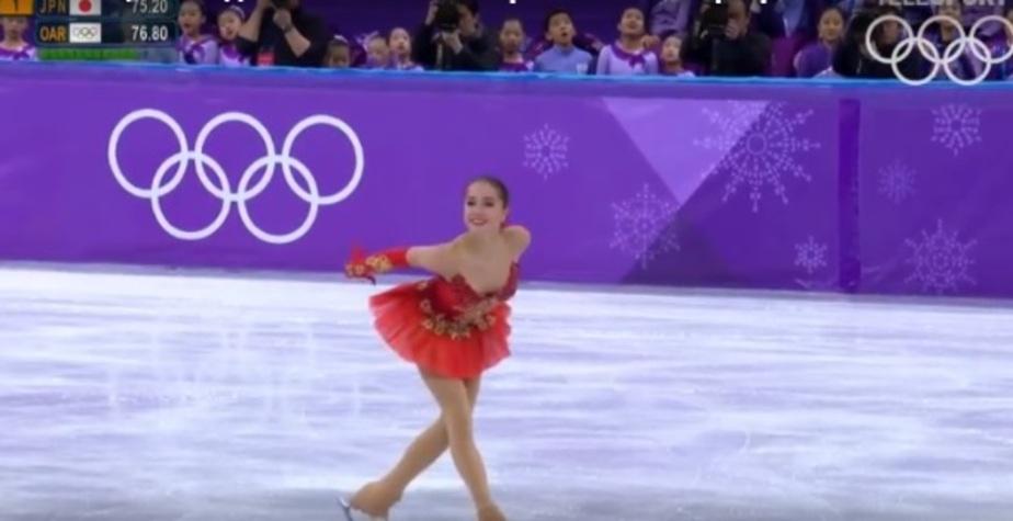 Кадр из видеозаписи выступления Алины Загитовой