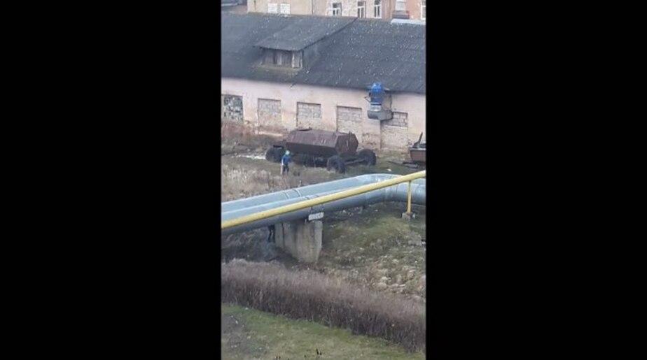 Скриншот видеозаписи, сделанной очевидцем