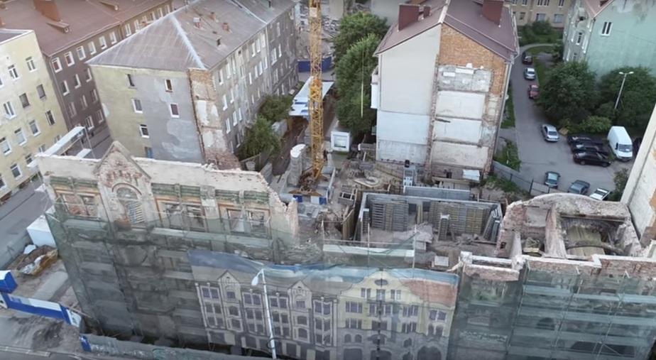 Как выглядит Кройц-аптека с высоты после обрушения части фасада (видео) - Новости Калининграда   Кадр видеозаписи