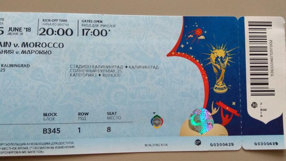 Калининградке продали билет на несуществующее место на ЧМ-2018 (фото)  - Новости Калининграда | Фото предоставила героиня публикации