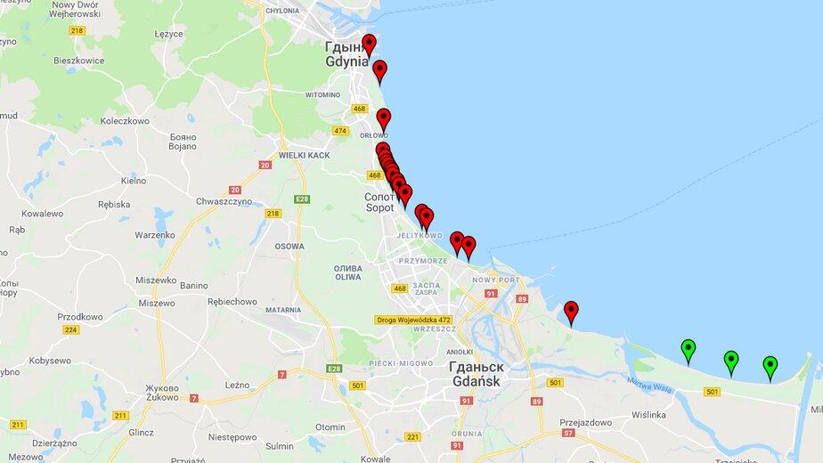 Красным обозначены пляжи, на которых запрещено купание | Скриншот сайта Главной санитарной инспекции Польши