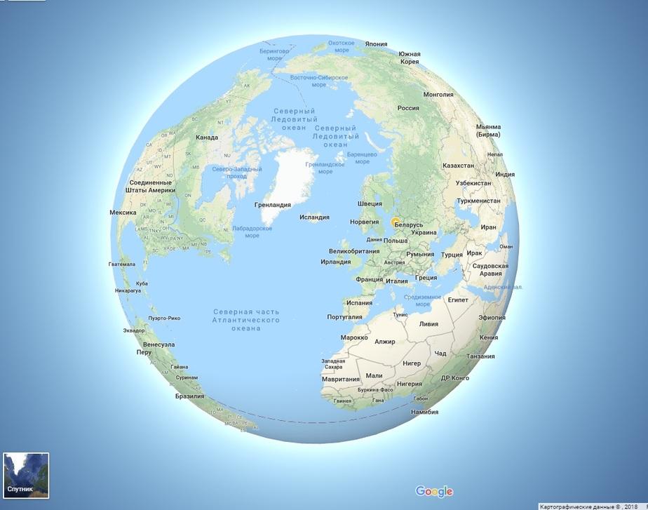 В Google Maps сделали Землю круглой - Новости Калининграда   Скриншот сервиса  Google Maps