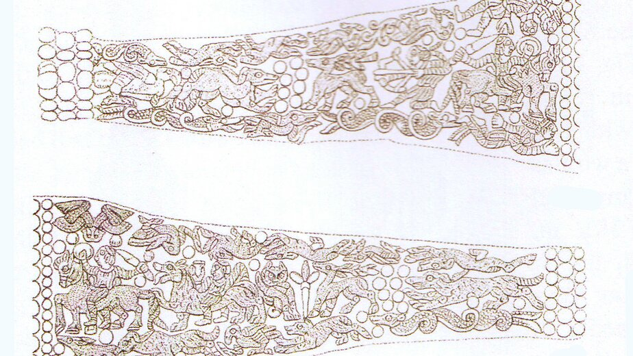 Развёртка рисунка орнамента на кольце из Штробьенена | Фото: архив Константина Скворцова