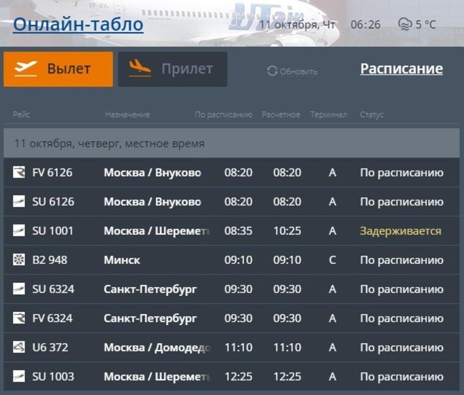 Скриншот онлайн-табло Храброво