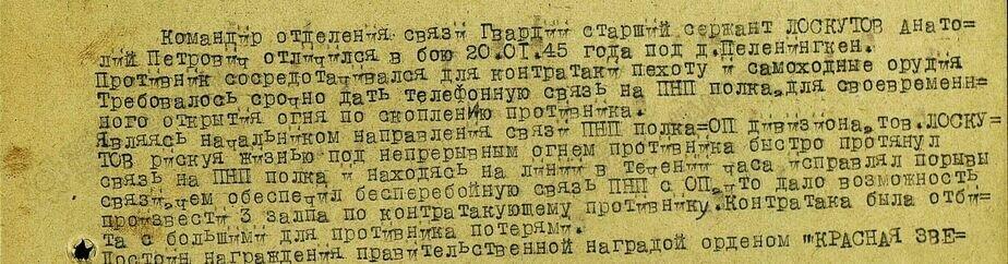 Выписка из наградного листа на Анатолия Лоскутова | Фото: Владимир Воронов