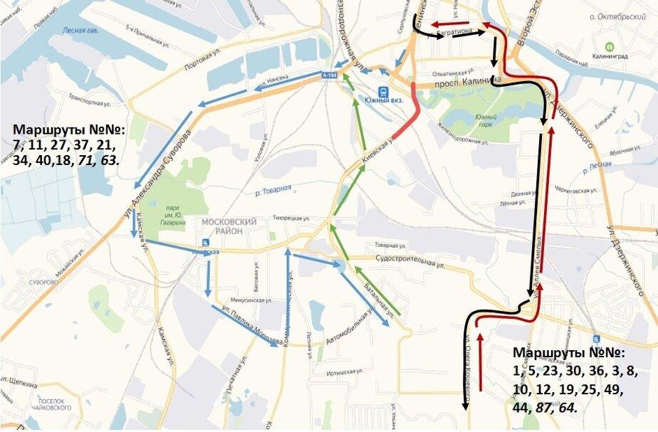 Как объехать закрытый участок ул. Киевской (карта, схемы) - Новости Калининграда