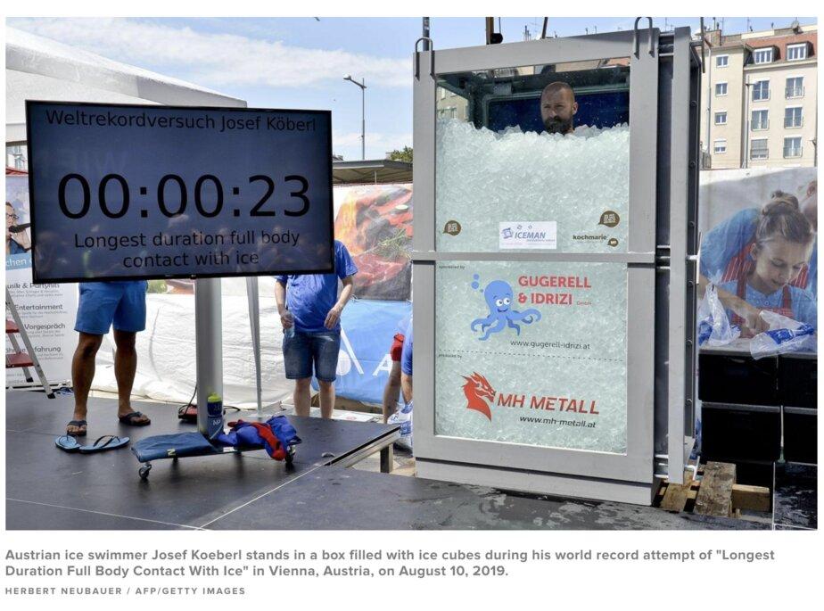 Австрийский спортсмен установил мировой рекорд, два часа простояв в контейнере со льдом - Новости Калининграда | Изображение: скриншот сайта CBS News