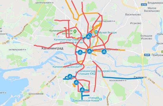 Мэрия опубликовала карту велодорожек, которые появятся в Калининграде - Новости Калининграда