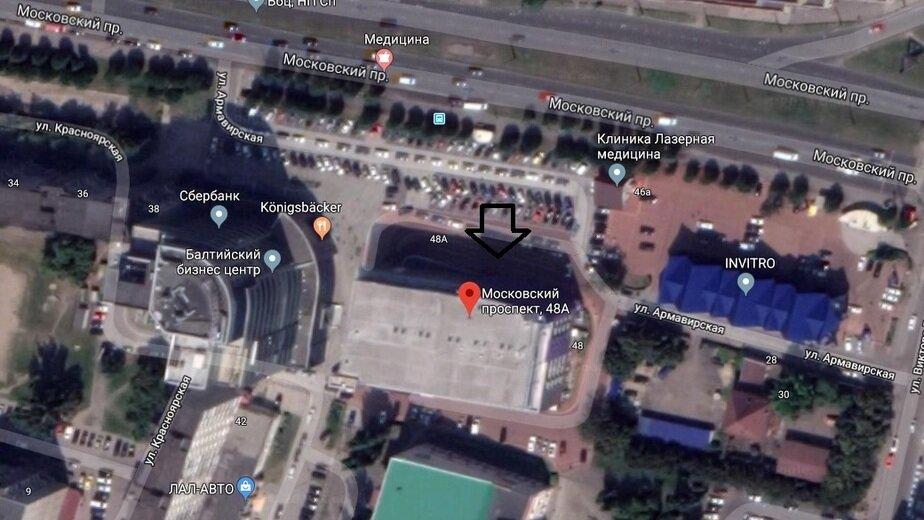 В Калининграде выставили на продажу административно-торговое здание на Моспроспекте - Новости Калининграда | Скриншот сервиса Google.Maps