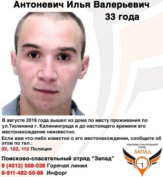 """В Калининграде ищут 33-летнего мужчину, который пропал в августе - Новости Калининграда   Фото: """"Поиск пропавших людей Калининград. ПСО """"Запад"""""""