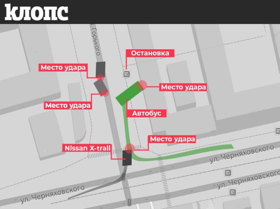 У Центрального рынка пассажирский автобус протаранил цветочный павильон (фото, видео) - Новости Калининграда