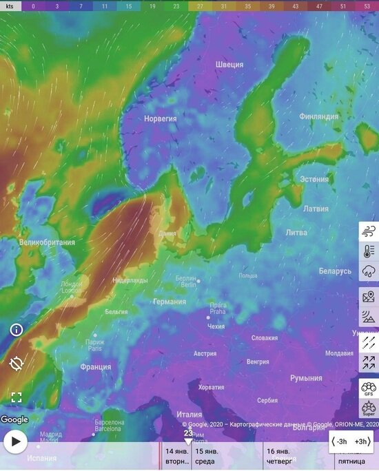 "На Калининградскую область надвигается шторм ""Брендан"" - Новости Калининграда | Скриншот windfinder"