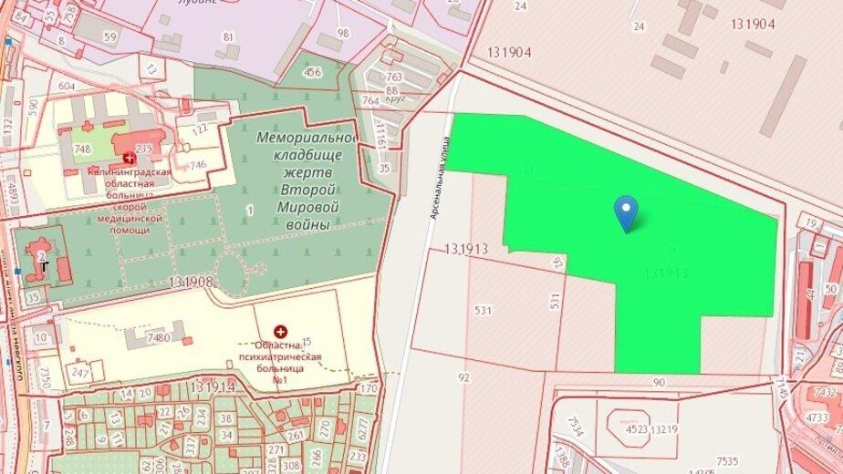 В Калининграде рядом с мемориальным кладбищем построят две многоэтажки - Новости Калининграда | Скриншот кадастровой карты