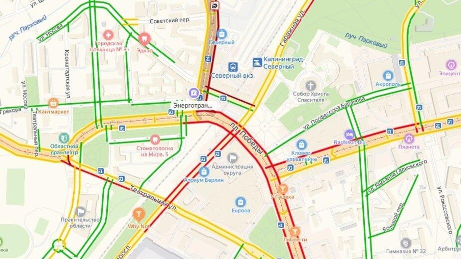 """Возле Северного вокзала столкнулись две легковушки, есть пострадавшие - Новости Калининграда   Скриншот сервиса """"Яндекс.Пробки"""""""