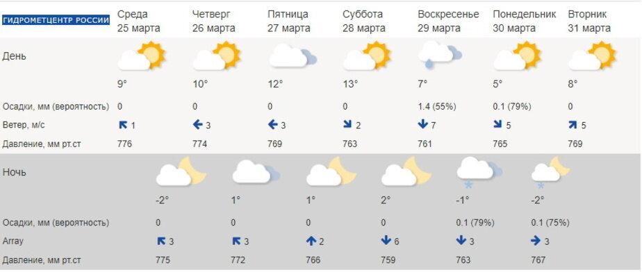 Калининградцам до конца марта не советуют менять резину  - Новости Калининграда | Скриншот сайта Гидрометцентра России