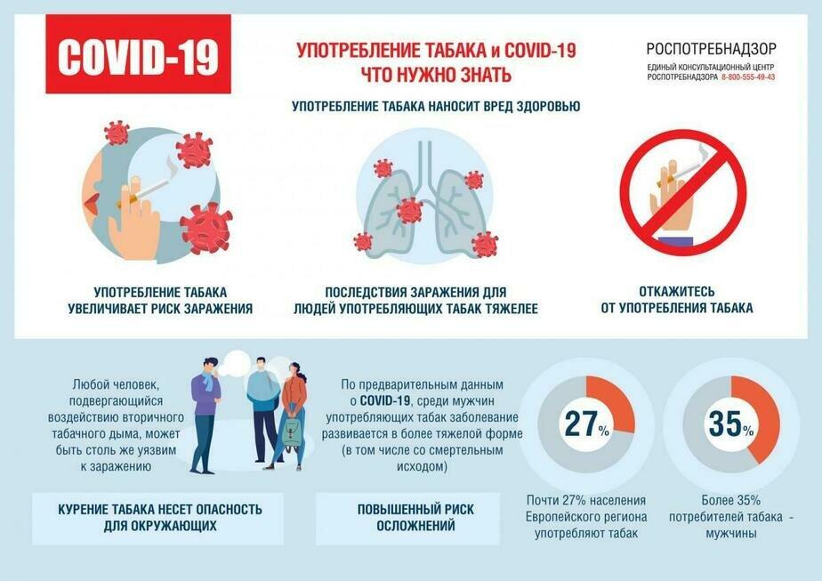 Роспотребнадзор: у курильщиков коронавирус чаще протекает в тяжёлой форме - Новости Калининграда | Графика: региональное управление Роспотребнадзора