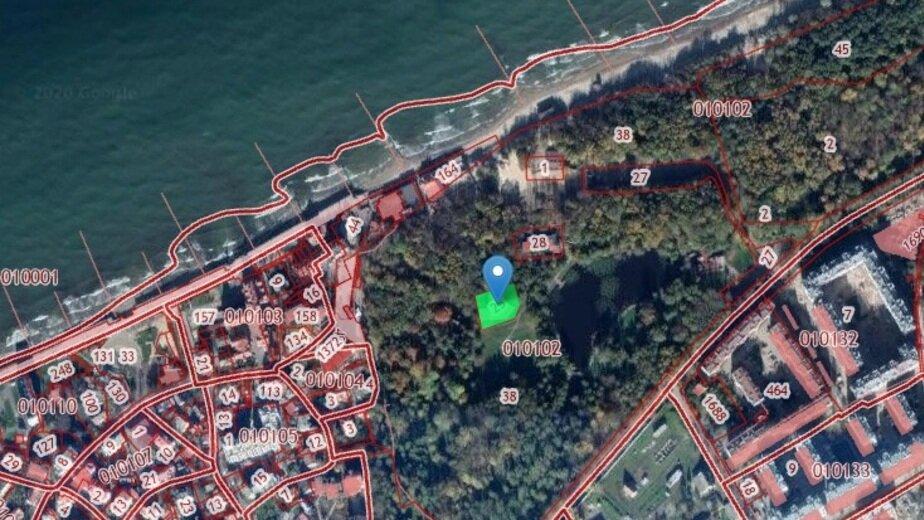 В Зеленоградске продали участок с летним театром в городском парке - Новости Калининграда | Скриншот кадастровой карты
