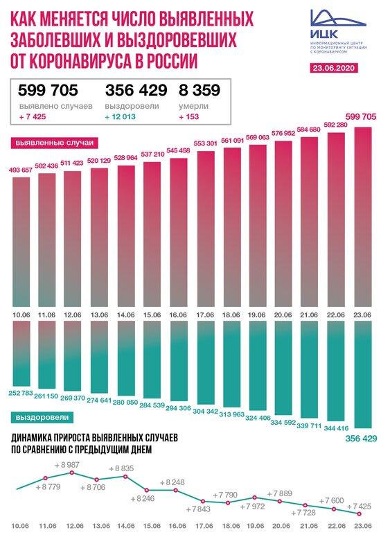 В России выявили 7 425 новых случаев коронавируса за сутки - Новости Калининграда   Фото: Информационный центр по мониторингу ситуации с коронавирусом