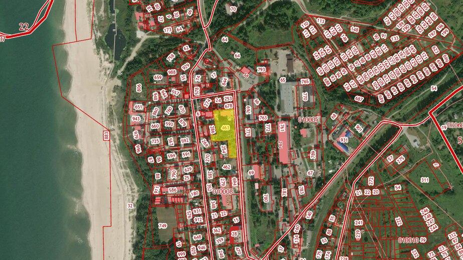 В Янтарном построят четыре многоквартирных дома в 450 метрах от моря - Новости Калининграда | Скриншот кадастровой карты