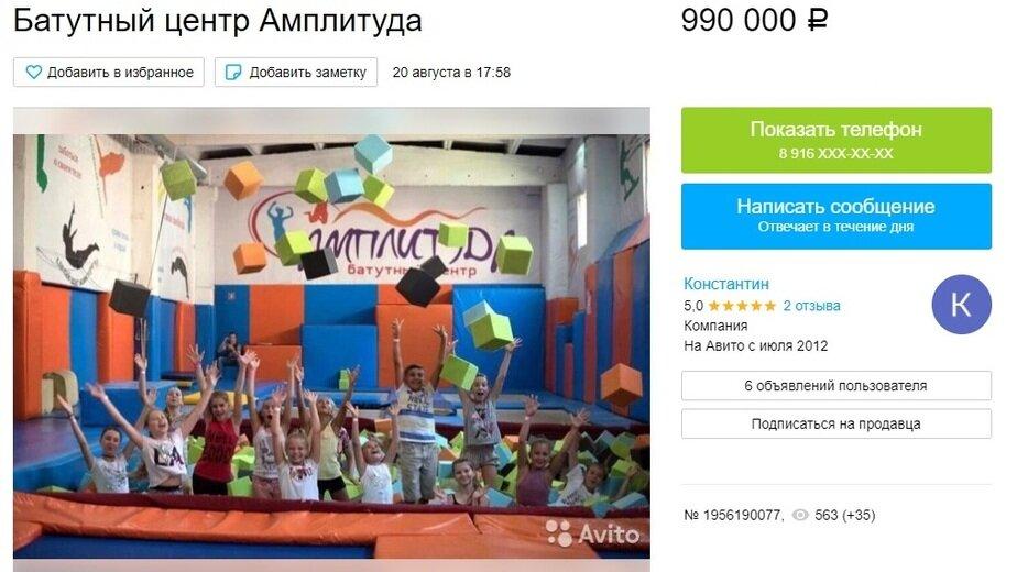 Калининградский батутный центр выставлен на продажу - Новости Калининграда | Скриншот сайта Avito