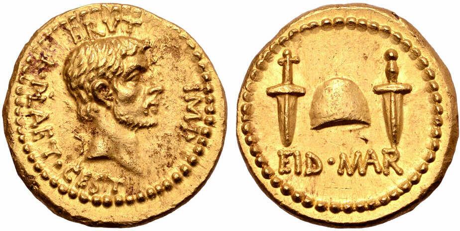 На торги выставили редкую золотую монету с профилем Брута - Новости Калининграда   Изображение: скриншот сайта Тhe Нistory Вlog