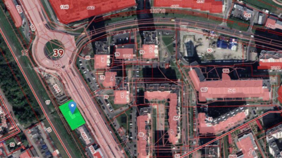 Скриншот кадастровой карты. Место строительства отмечено зелёным