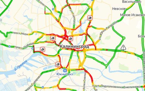 Калининград встал в семибалльных пробках из-за пяти ДТП - Новости Калининграда | Скриншот страницы Яндекса