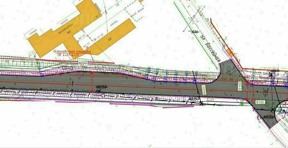 Участок перекрёстка Катина — Бассейная | Скриншот проектной документации
