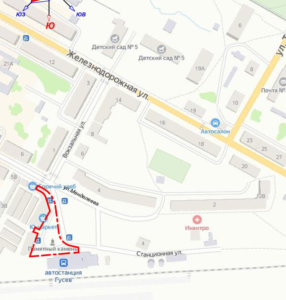 Красным выделено месторасположение сквера | Фото: Схема размещена на сайте госзакупок