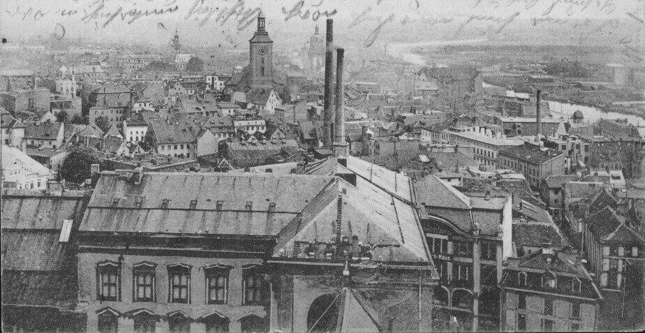 Вид на Лёбенихт с башни Королевского замка | Фотография на открытке 1911 года