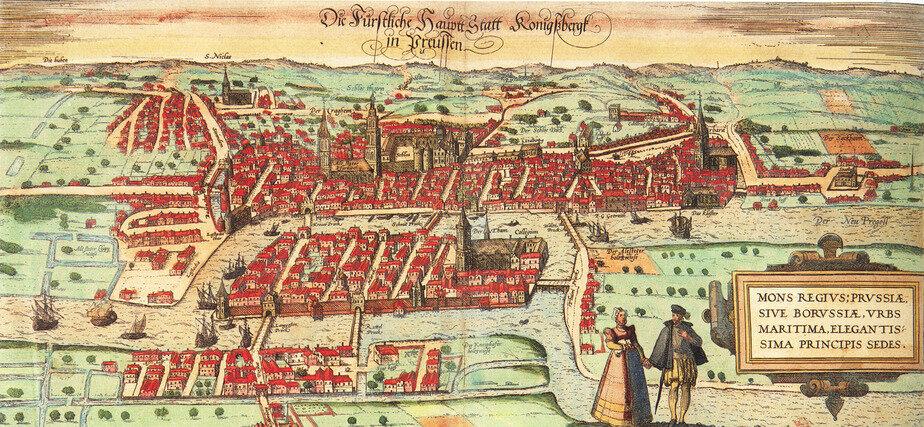 Гравюра  Георга Брауна и Франца Хогенберга с видом Кёнигсберга 1581 года. В правой части виден город Лёбенихт с церковью Святой Барбары на горе