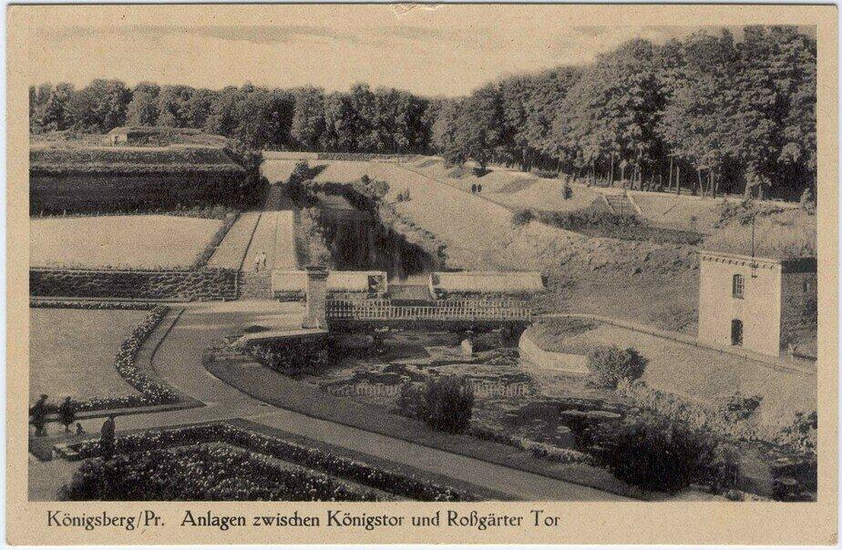 Парковая зона между Королевскими и Росгартенскими воротами (зелёный пояс Кёнигсберга), созданная Эрнстом Шнайдером на месте городских вальных укреплений | Фотография на открытке 1930 года