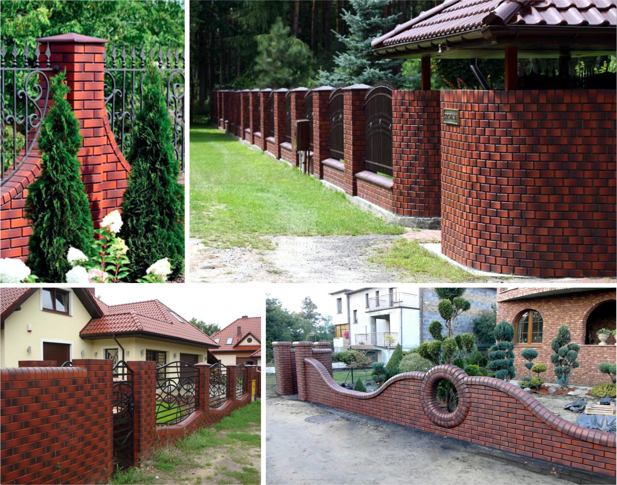 Как построить забор своими руками из кирпичных столбов 722