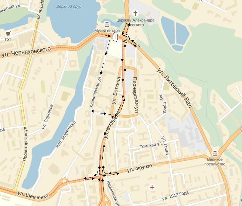 Автобусные маршруты, следующие