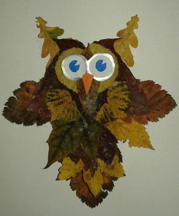 думаете рисунки из листьев сова там есть любой